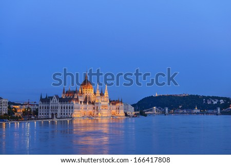 Hungarian Parliament Building at night. Budapest. Hungary