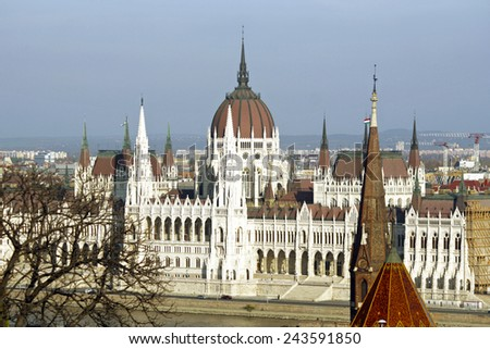 Hungarian Parliament Building at sunset in the city of Budapest, Hungary. - stock photo