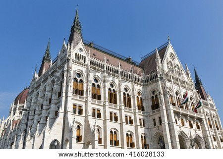 Hungarian Parliament building facade in Budapest, Hungary