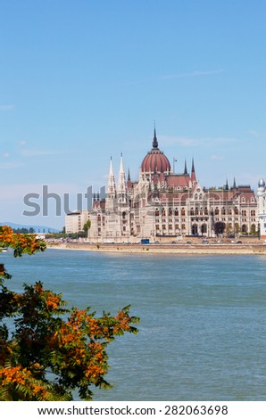 Hungarian parliament in Budapest, Hungary - stock photo