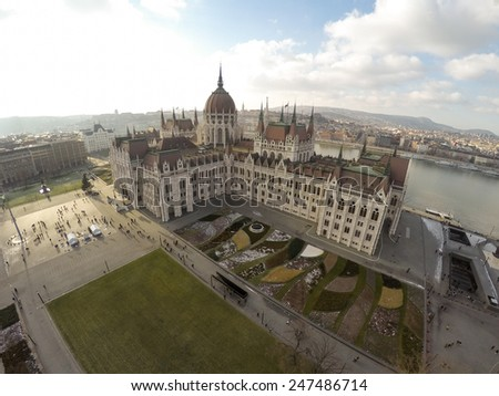 Hungarian parliament in Budapest seen from above - stock photo