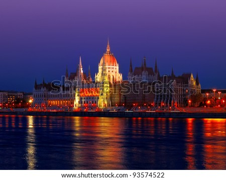 Hungarian parliament on the embankment