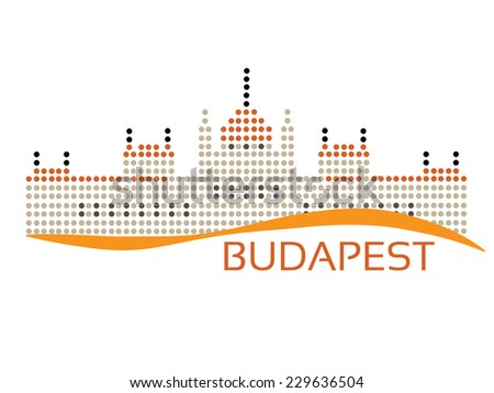 Hungarian Parliament (The Parlament) building at Budapest, dotted style illustration  - stock photo