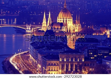 Hungarian Parliament with Danube River. Budapest, Hungary - stock photo