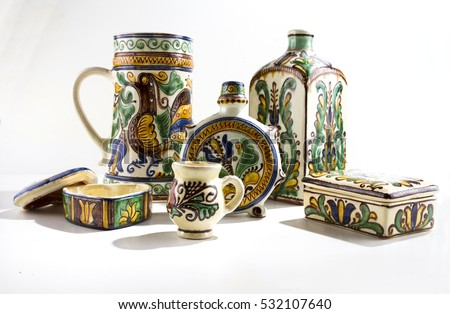 Hungarian rustic painted ceramics white background