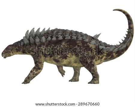 Hungarosaurus Side Profile - Hungarosaurus was an ankylosaur herbivorous dinosaur that lived in Hungary during the Cretaceous Period. - stock photo