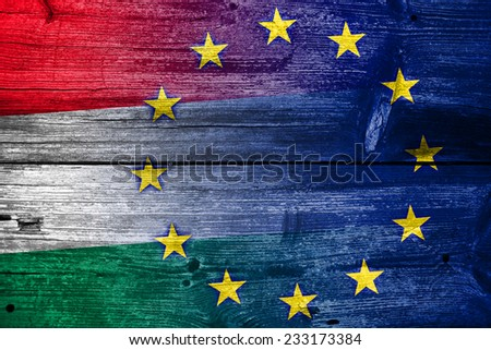 Hungary and European Union Flag painted on old wood plank texture - stock photo