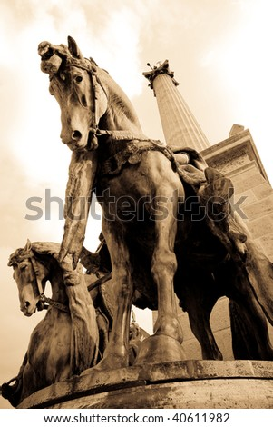 Hungary, Budapest, statues and column in Heroes Square - stock photo