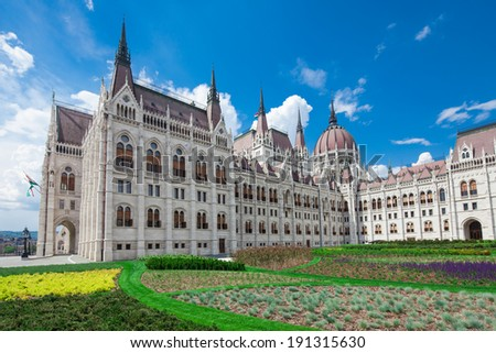 Hungary, Budapest, view of parliament