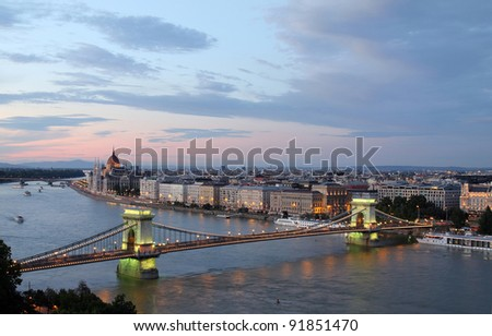 Hungary, Chain Bridge and Danube river in Budapest in evening - stock photo