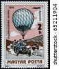HUNGARY -CIRCA 1983: A post stamp printed in Hungary devoted  air and overland transport, circa 1983 - stock photo