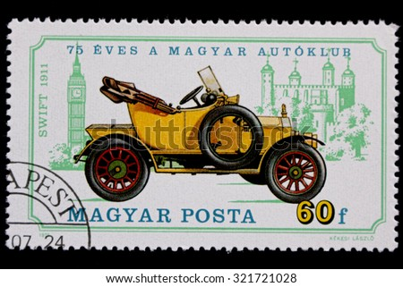 HUNGARY - CIRCA 1975: A postage stamp printed in Hungary showing an image of Swift, 1911, circa 1975