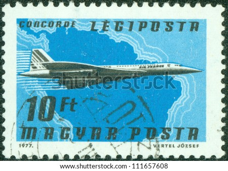 HUNGARY - CIRCA 1977: A stamp printed by Hungary, shows plane, circa 1977 - stock photo
