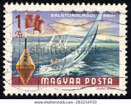 HUNGARY - CIRCA 1968: A stamp printed by Hungary, shows View on Balaton Lake, sailsboat at almadi, by Legrady Sandor, circa 1968
