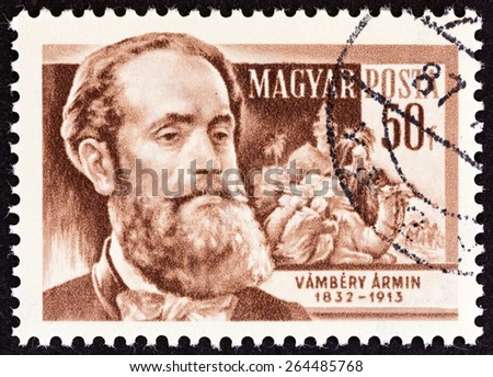"""HUNGARY - CIRCA 1954: A stamp printed in Hungary from the """"Scientists """" issue shows Turkolog Armin Vambery (1832-1913), circa 1954.  - stock photo"""