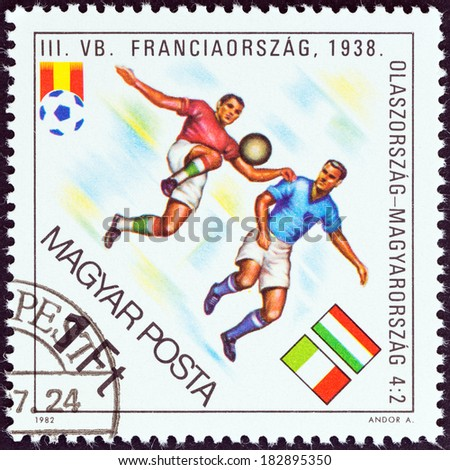 "HUNGARY - CIRCA 1982: A stamp printed in Hungary from the ""World Cup Football Championship, Spain "" issue shows Italy v. Hungary, 1938, circa 1982. - stock photo"