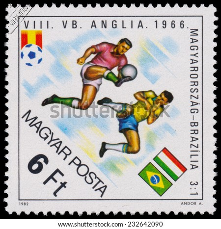 """HUNGARY - CIRCA 1982: A stamp printed in Hungary from the """"World Cup Football Championship, Spain """" issue shows Hungary v. Brasil, 1966, circa 1982.  - stock photo"""