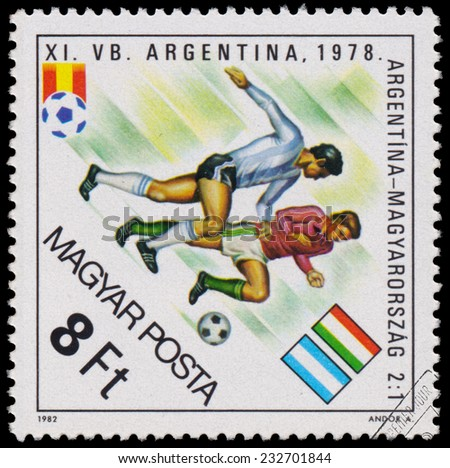 """HUNGARY - CIRCA 1982: A stamp printed in Hungary from the """"World Cup Football Championship, Spain """" issue shows Argentina v. Hungary, 1978, circa 1982.  - stock photo"""