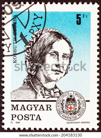 HUNGARY - CIRCA 1989: A stamp printed in Hungary issued for the 125th anniversary of Red Cross Movement shows Zsuzsa Kossuth (War of Independence nurse), circa 1989.