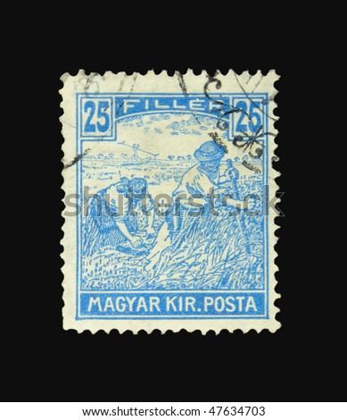 HUNGARY - CIRCA 1920: A stamp printed in Hungary showing farmers circa 1920