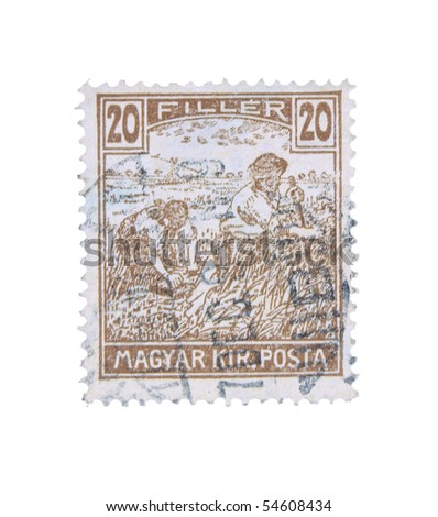 HUNGARY - CIRCA 1950: A stamp printed in Hungary showing farmers, circa 1950
