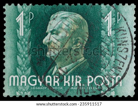 HUNGARY - CIRCA 1941: A stamp printed in Hungary shows a portrait of Admiral Nicholas Horthy (1868-1957), circa 1941