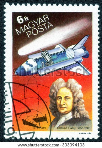 "HUNGARY - CIRCA 1986: A Stamp printed in Hungary shows a series of images ""History of space exploration"" , circa 1986"