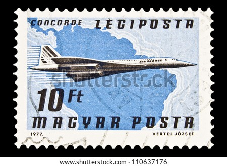 "HUNGARY - CIRCA 1977 : A stamp printed in Hungary, shows Airlines and Maps with the inscription ""Concorde"", from the series ""Airpost"", circa 1977"