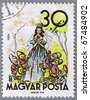 "HUNGARY - CIRCA 1960: A stamp printed in Hungary shows an illustration of the Brothers Grimm tale ""Snow White and the Seven Dwarfs"", a series devoted to the tales, circa 1960 - stock photo"