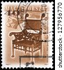 "HUNGARY - CIRCA 2001: A stamp printed in Hungary, shows antique Armchair by Ignac Alpar, 1896, with the same inscription, from series ""Furniture Type"", circa 2001 - stock photo"
