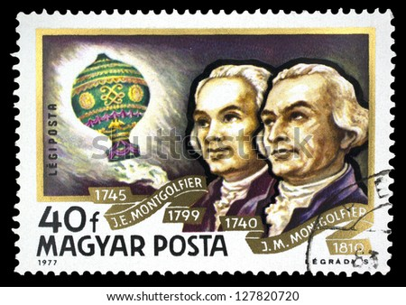 "HUNGARY - CIRCA 1977: A stamp printed in Hungary, shows Balloon Air and portraits of Montgolfier Brothers, with the same inscription, from the series ""History of Airships"", circa 1977"