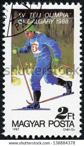 HUNGARY - CIRCA 1987: A stamp printed in Hungary shows Cross-country skiing, series, circa 1987