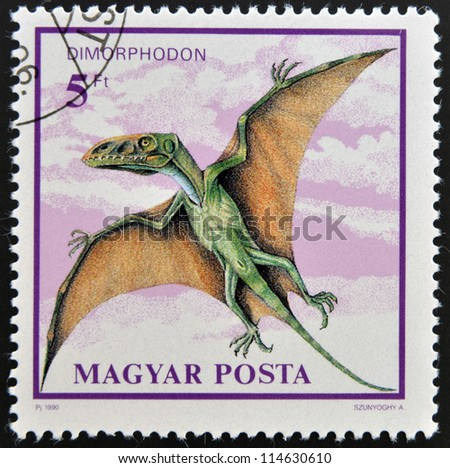 HUNGARY - CIRCA 1990: A stamp printed in Hungary shows Dimorphodon, circa 1990 - stock photo