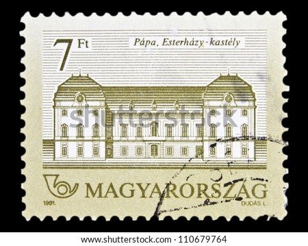 "HUNGARY - CIRCA 1991 : A stamp printed in Hungary shows Eszterhazy Castle, Papa, with the same inscription, from the series ""Hungarian Castles"", circa 1991"