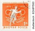 HUNGARY- CIRCA 1970: A stamp printed in Hungary shows Fencing, Olympic Rings  circa 1970 - stock photo