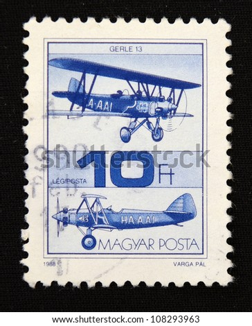 HUNGARY - CIRCA 1988: A stamp printed in Hungary shows Glider, circa 1988