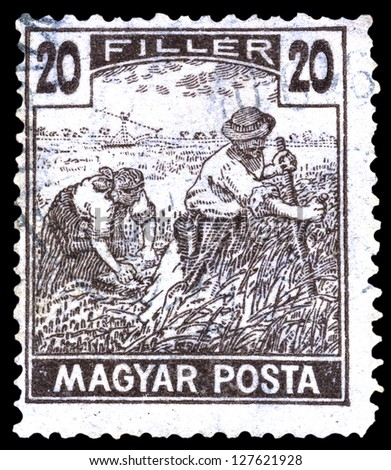 "HUNGARY - CIRCA 1916: A stamp printed in Hungary shows Harvesting Wheat, without inscriptions, from the series ""Harvesting Wheat"", 1916"