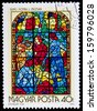HUNGARY- CIRCA 1972: A stamp printed in Hungary shows image of the religious subjects made at the stained-glass window, circa 1972  - stock photo