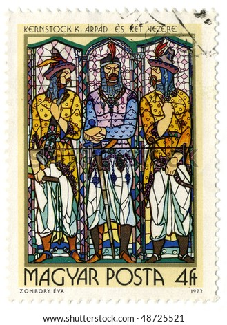 HUNGARY- CIRCA 1972: A stamp printed in Hungary shows image of the religious subjects made at the stained-glass window, circa 1972.