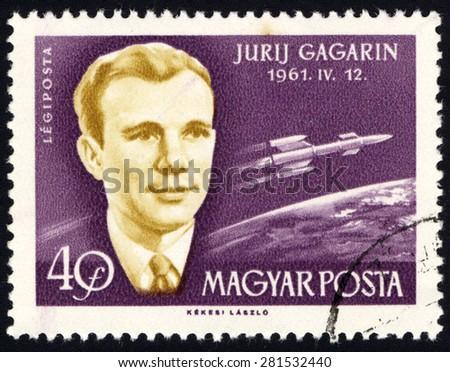 HUNGARY - CIRCA 1961: A stamp printed in Hungary, shows Jurij Gagarin 1961.11.12, circa 1961 - stock photo