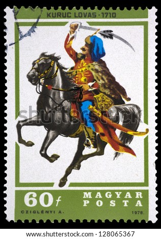 "HUNGARY - CIRCA 1978: A stamp printed in Hungary shows Kuruts horseman, 1710, with the same inscription, from the series ""Horsemen"", circa 1978"