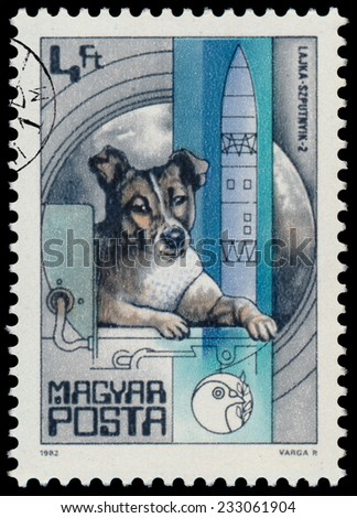 "HUNGARY - CIRCA 1982: A stamp printed in Hungary shows Laika dog, Sputnik 2 (1957), with the same inscription, from the series ""Space Research"", circa 1982  - stock photo"