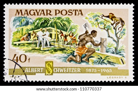 "HUNGARY - CIRCA 1975 : A stamp printed in Hungary shows Lambarene Hospital, inscription ""DR. Schweitzer 1875-1965"", series ""Birth Centenary of Dr. Albert Schweitzer (Nobel Prize Winner)"", circa 1975"