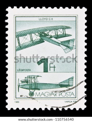 "HUNGARY - CIRCA 1988 : A stamp printed in Hungary shows Old Airplane, with the inscription ""Lloyd C II"", from the series ""Airplanes"", circa 1988"