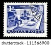 "HUNGARY - CIRCA 1964: A stamp printed in Hungary shows Parcel conveyor, without inscription, from the series ""Transport and Telecommunication"", circa 1964. - stock photo"
