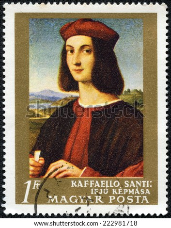 "HUNGARY - CIRCA 1968: A stamp printed in Hungary, shows Picture Portrait of a Young Man by Raffaello Santi, from the series ""Paintings in National Gallery, Budapest"", circa 1968 - stock photo"