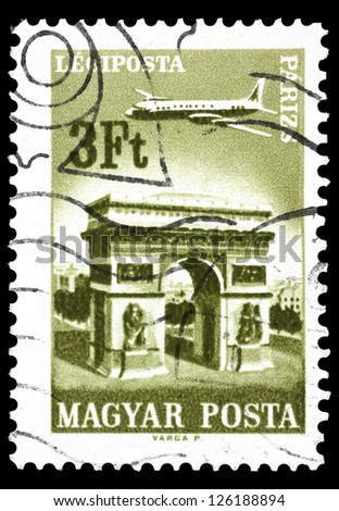 "HUNGARY - CIRCA 1966: A stamp printed in Hungary shows Plane over Paris, with the inscription ""Paris"", from the series ""Plane over Cities served by Hungarian Airways"", circa 1966"