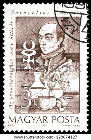 "HUNGARY - CIRCA 1989: A stamp printed in Hungary, shows portrait of Paracelsus (pharmacy), 1493 - 1541, with the same inscription, from series ""Pioneers of Medicine"", circa 1989"
