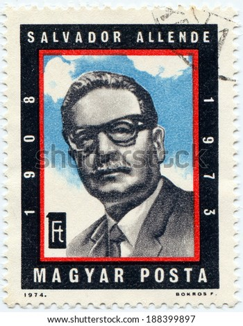 HUNGARY - CIRCA 1974: A stamp printed in Hungary shows Salvador Allende, circa 1974