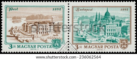 "HUNGARY - CIRCA 1972: A stamp printed in Hungary shows View of Budapest, 1972, with the same inscription, from the series ""Centenary of Unification of Buda, Obuda and Pest as Budapest"", circa 1972"